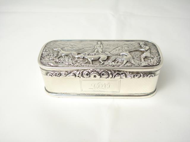 A silver snuff box maker's mark WM over AM, Glasgow 1826