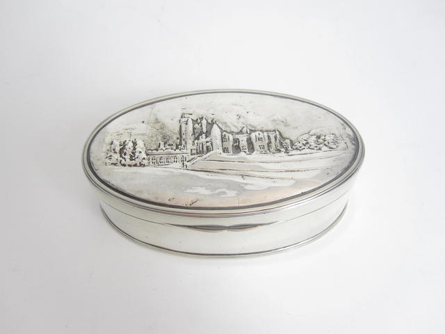A Scottish provincial silver castle top box by William Robb of Ballater, Edinburgh 1920