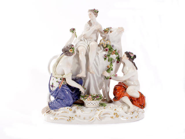 A Meissen figure group of Europa and the bull, late 19th century