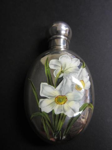 A Victorian silver and enamelled scent bottle by S. Mordan, London 1887