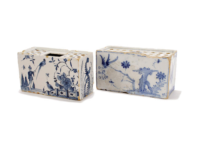 Two English delft flower bricks, mid 18th century