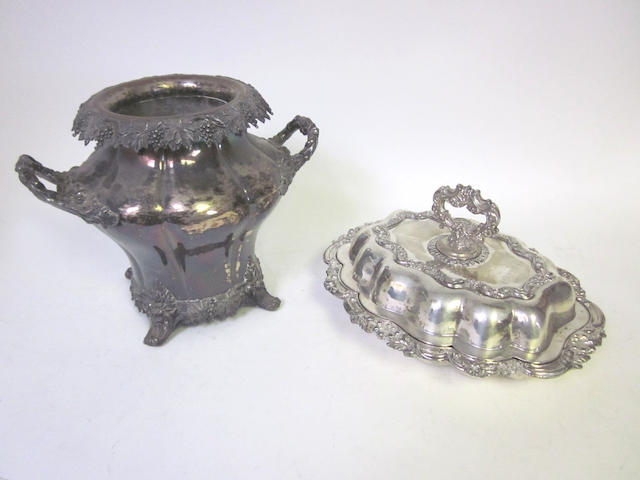 An early 19th century Old Sheffield plate two-handled wine cooler, circa 1830  (2)