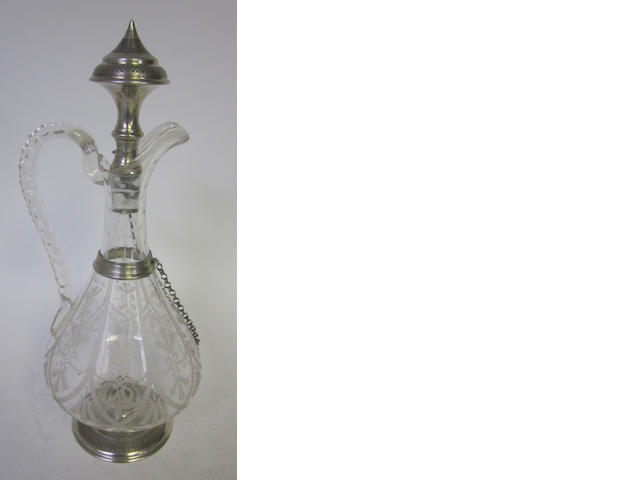 A late 19th century Continental silver and clear glass decanter, with Dutch tax mark