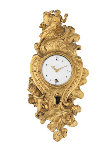 A good mid 18th century French ormolu quarter repeating cartel timepiece  LeBon, Paris