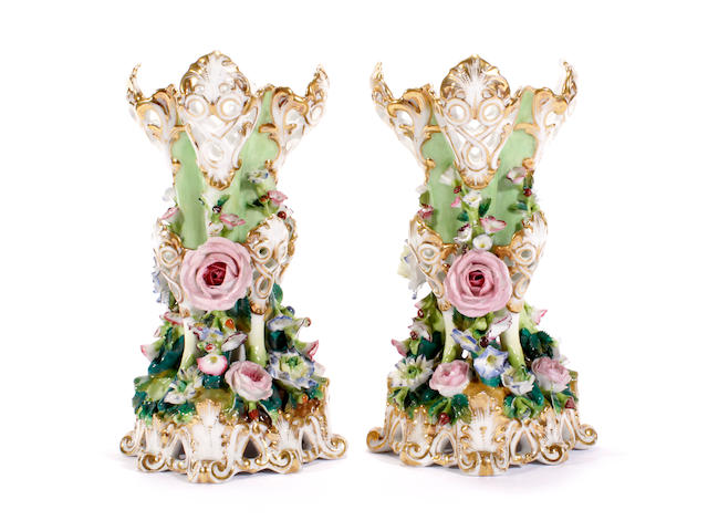 A pair of Jacob Petit vases, 19th century