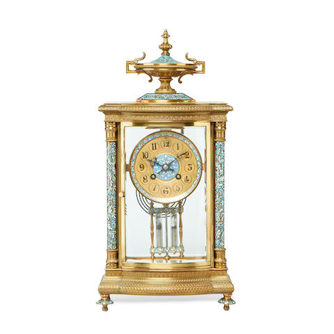 An early 20th century gilt metal and champlevé enamel four glass mantel clock by Japy Frereswith original leather case
