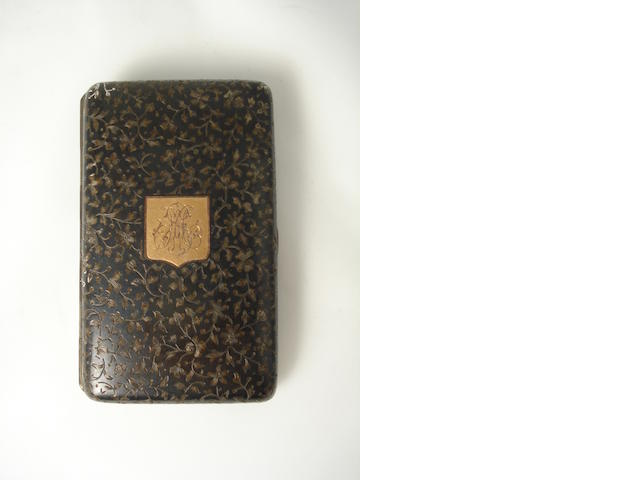 A mid 19th century French niello work cigarette case maker's mark Dubois and with French control mark for 800 standard