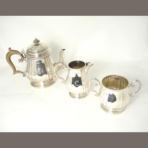 A three piece silver tea service  by Cooper Brothers & Sons Ltd., Sheffield 1930