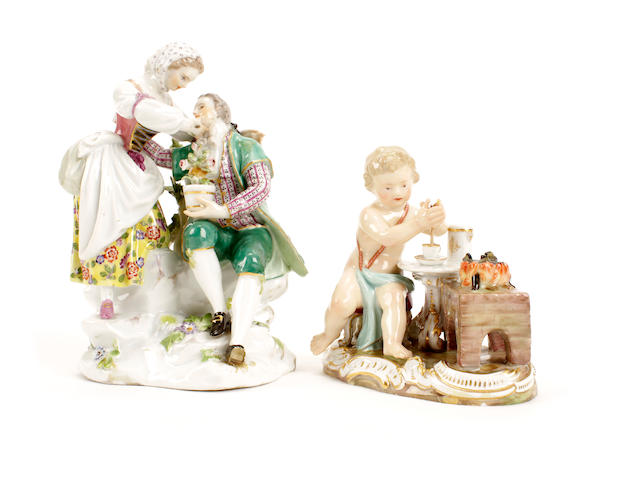 A Meissen group of gardeners and a Meissen figure of Cupid, circa 1850 and circa 1870