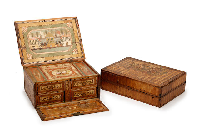 Two 19th century straw-work jewellery or work boxes
