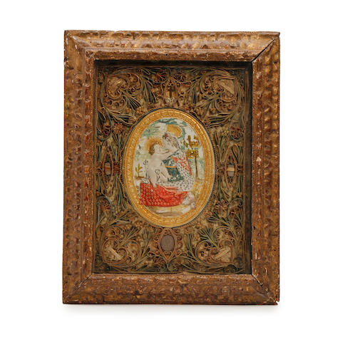 A framed and mounted pressed wax devotional medallion, ContinentalA partial paper label to reverse reading 'Provenance Bretonne'
