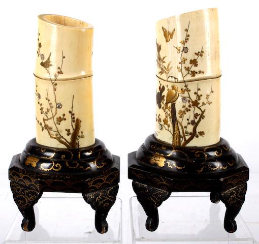 A pair of Japanese ivory tusks with shibayama decoration