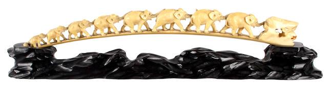 A Japanese carved ivory elephant tusk