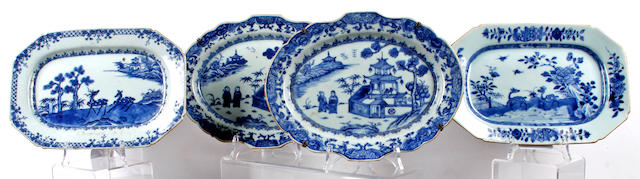 A pair of Chinese late 18th/early 19th Century blue and white export dishes