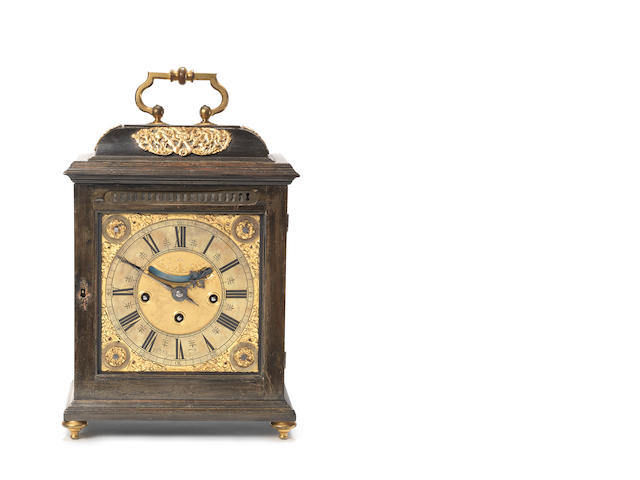 A rare late 17th century ebonised quarter chiming table clock Daniel Quare, London