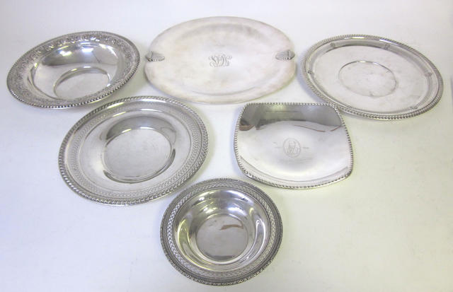 An American metalware dish, by Falmouth,  together with five other fruit dishes(6)