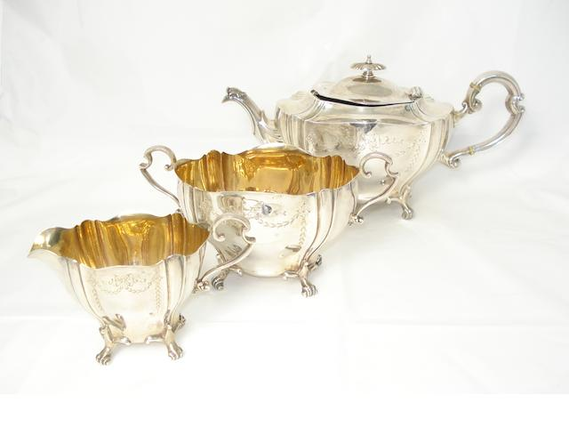 A three piece silver tea service probably by George Wish, Sheffield 1907  (3)