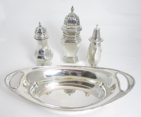 A group of three silver casters various makers and dates