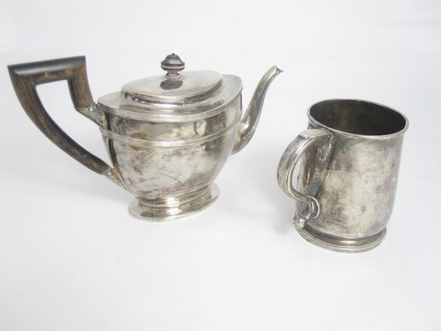 A George II silver mug maker's mark unclear, possibly RB for Richard Bayley,  London 1723  (2)