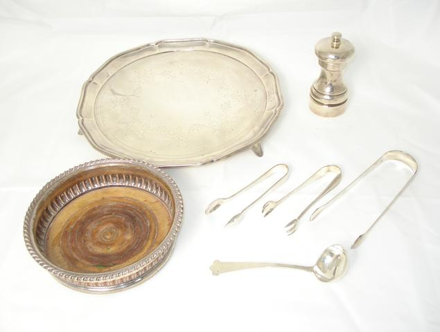 A collection of silver and plated items