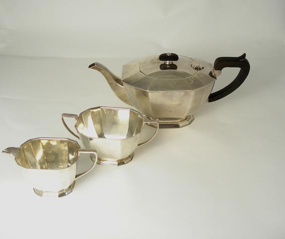 A three piece silver tea service by C.B.Bradbury & Sons, Sheffield 1942