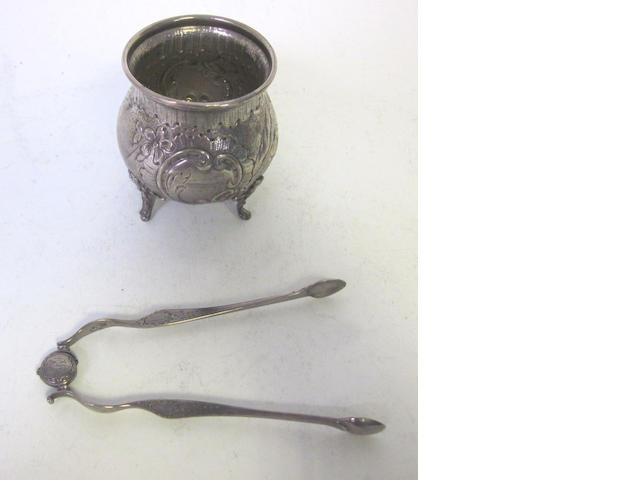 A pair of George III silver spring-action sugar tongs maker's mark IB possibly by John Bourne, London, each arm stamped with lion passant and maker's mark circa 1780  (2)