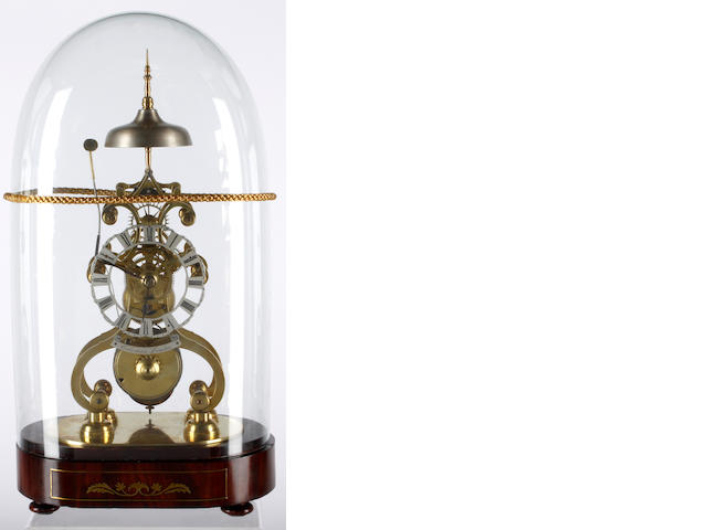 "A first half of the 19th Century brass skeleton clock, Coleman LondonColeman Londonthe shaped frame surmounted by the bell on oval brass inlaid mahogany base, the 4"" silvered Roman chapter with shaped border, single fusee movement with anchor escapement and passing, strike on a bell, pendulum and glass dome, 41cm high."