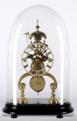 "A 19th century brass skeleton clock, the shaped and pierced frame surmounted by the bell, on an oval ebonised base, the 4 1/2"" silvered Roman chapter with shaped border, single fusee movement with anchor escapement, and passing strike on a bell, pendulum and glass dome, 31cm."