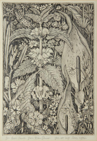 Robin Tanner (British, 1904-1988) Summer flowers etching, 1936, signed, dated and inscribed 'for Cecil Crouch', 230 x 160mm (9 x 6 1/2in)(PL)