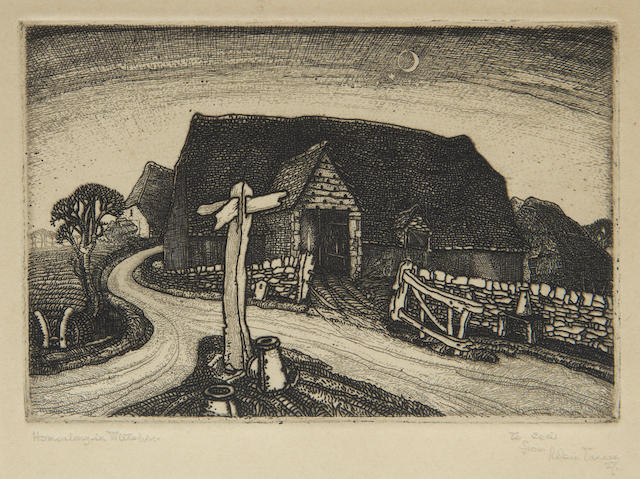 Robin Tanner (British, 1904-1988) Home along in Wiltshire Etching, 1927, on wove, a very rich impression, signed, titled, dated and dedicated 'To Cecil from Robin Tanner' in pencil, with margins, 100 x 148mm (4 x 5 3/4in)(PL)