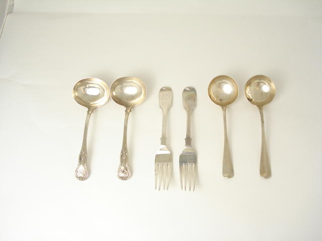 A small collection of Edinburgh silver flatware  (6)