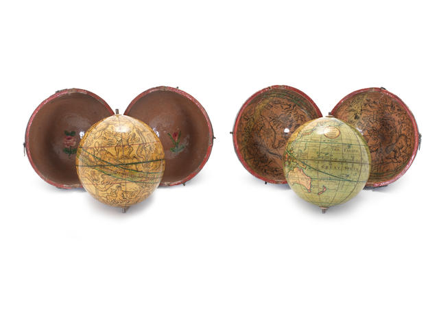 A pair of Nicholas Lane 3-inch pocket globes,  English, 1830's,  (2)