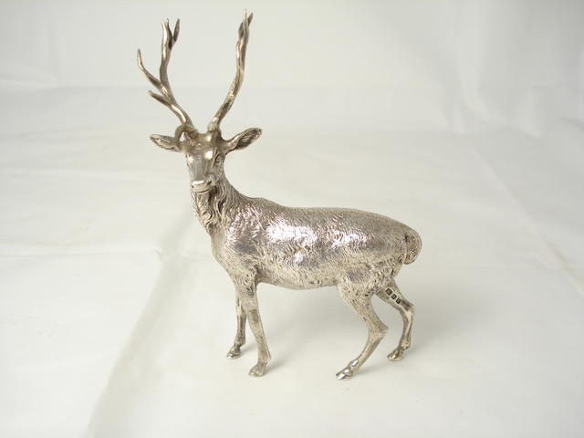 A small silver stag  by Edward Barnard & Sons Ltd, London 1973