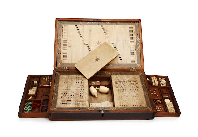 A boxed musical game set and contents with instruction booklet by Ann Young 1801