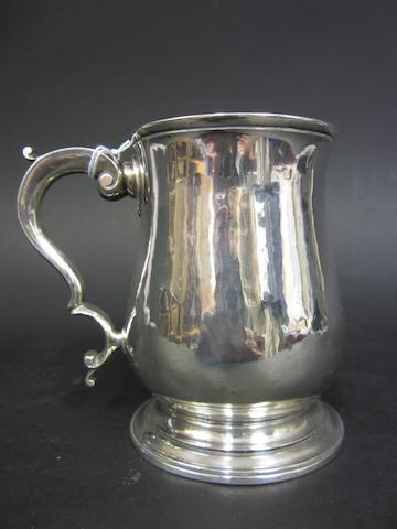 "A George II silver baluster mug by ""BELL"", London 1758"