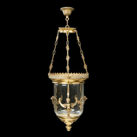 An early 20th century gilt metal hanging lantern