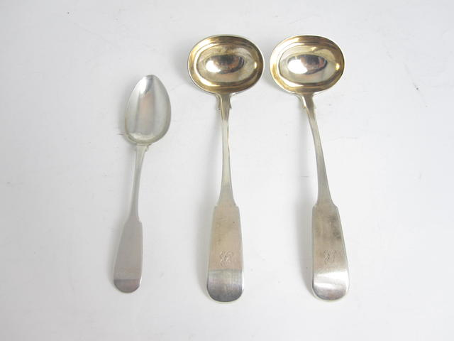 A pair of Scottish provincial silver toddy ladles by James Erskine of Aberdeen, four marks; JE, stylised thistle thrice  (3)