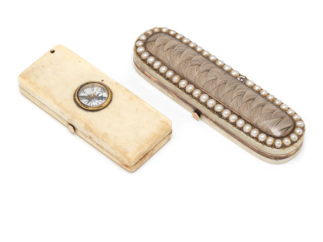 An early 19th century ivory and pearl toothpick case; together with an ivory cased barometer (2)