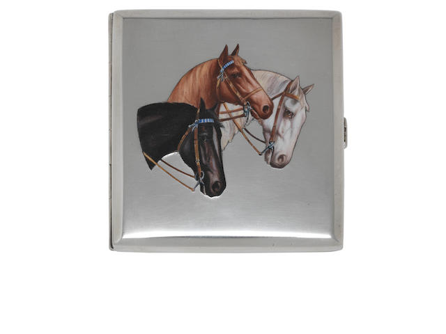 Equestrian Interest: An Austro-Hungarian  silver and enamelled cigarette case possibly by Karl Werner, first standard, circa 1930