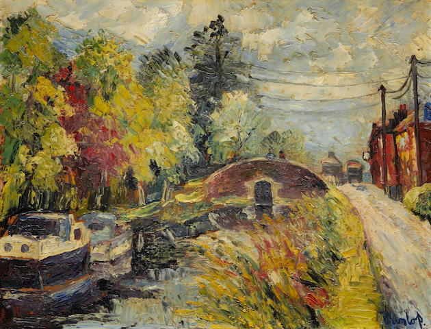 Ronald Ossory Dunlop NEA, ARA, RBA (British, 1894-1973) River scene with boats and bridge