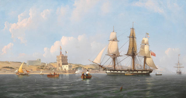 Attributed to Joseph (Giuseppe) Schranz (Maltese, 1803-circa 1867) An English frigate arriving in the Tagus off the Belem Tower; An English frigate hove-to off the southern bank of the Tagus