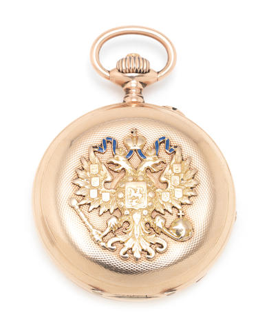 Unsigned. A 14ct gold keyless wind full hunter pocket watch Case No.64874, Circa 1902
