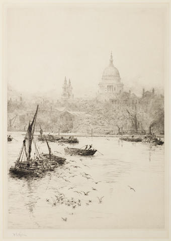 William Lionel Wyllie (British, 1851-1931) Group of Six Etchings of London