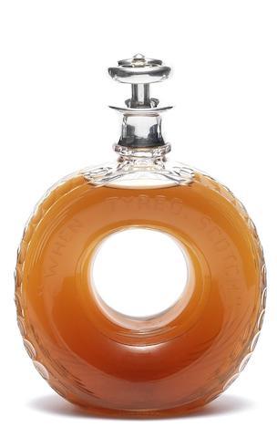 A novelty cut-glass and silver 'When Tyred Scotch' decanter by Hulkin & Heath Ltd, Birmingham, Hallmarked 1937,