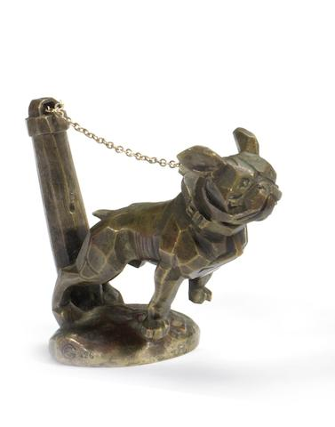 A chained bulldog mascot by Marvel, French, circa 1921