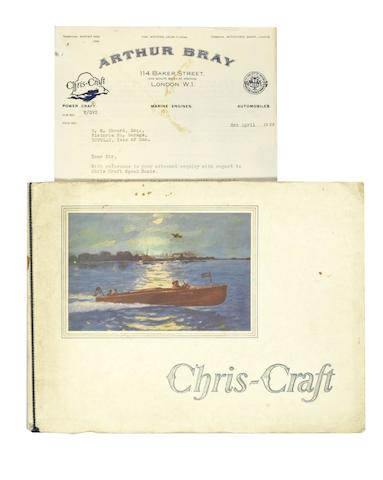 A fine Chris-Craft sales brochure, 1929, with related ephemera,