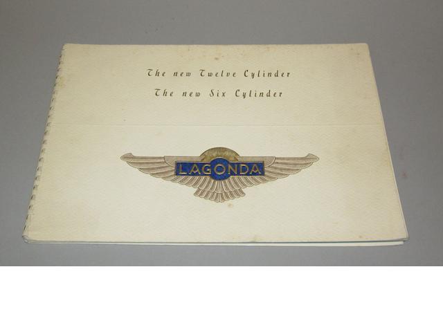 A 1938 Lagonda sales brochure, printed 1937,