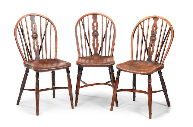Three 19th century yew, fruitwood and elm Windsor side chairs In the manner of the Prior family workshop, Buckinghamshire, circa 1830