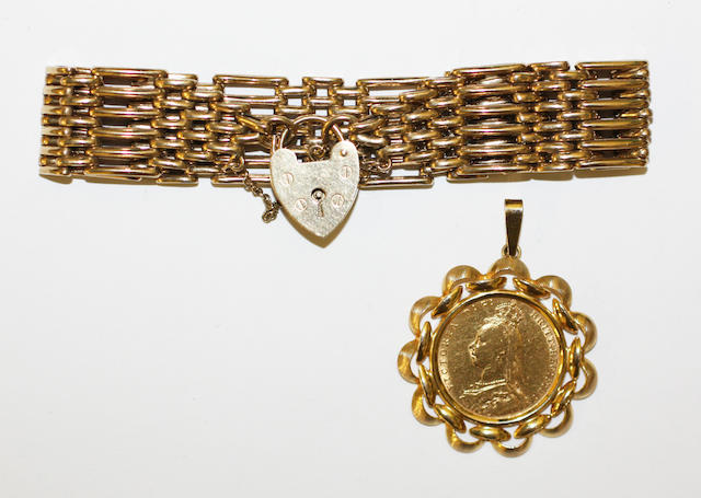 A 9ct gold gate-link bracelet and a sovereign pendant, (2)