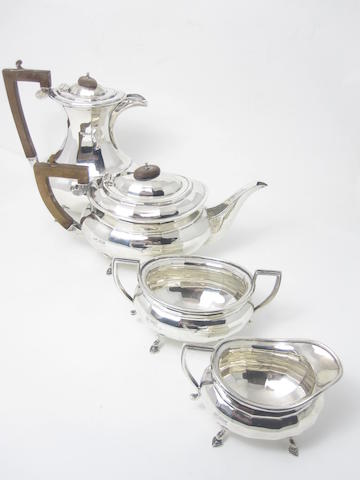A four piece silver tea service by Stevenson & Law, Sheffield 1928